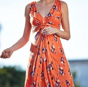 Boden Orange V-neck Knotted Front Polka Dot Dress